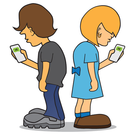 Cartoon boy and girl are using their cell phones to text to each other