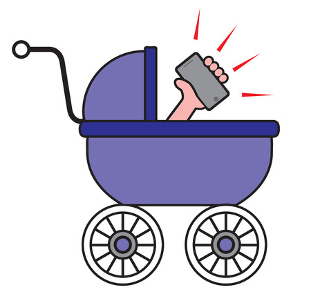 Baby in carriage is playing with his brand new cell phone