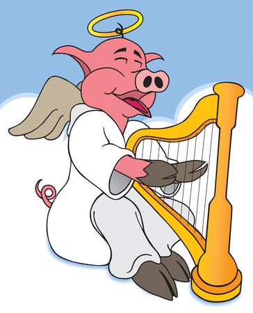 floating: Hog in heaven is happily playing his harp Illustration