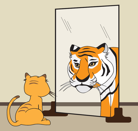 An ordinary house cat sees himself as a fierce tiger Illustration