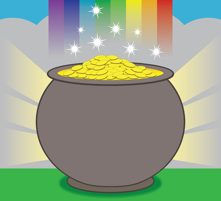 A glowing pot of gold is resting at the end of the rainbow Иллюстрация