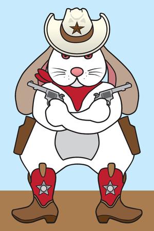 Tough cowboy rabbit is holding a pair of pistols.