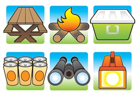 necessities: Various items that are nice to have on a camping trip Illustration