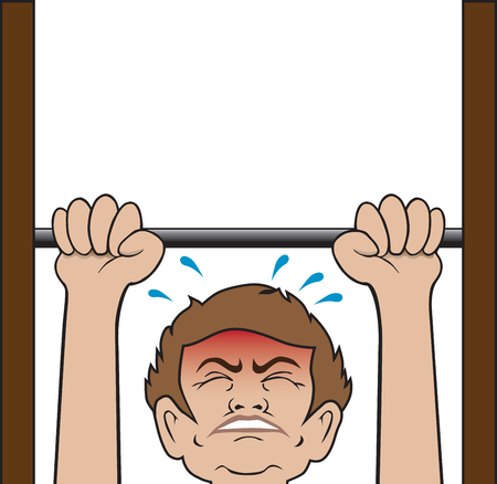 Cartoon man is attempting a pull up without success