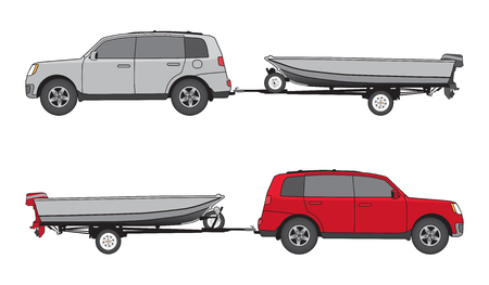 axles: Sport utility vehicel in two different color schemes is towing boat on trailer
