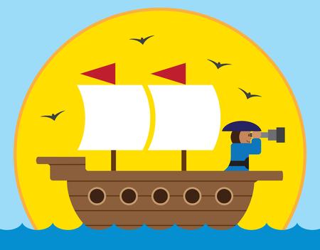 Kapitein van het oude zeilschip is op zoek naar horizon met zijn telescoop