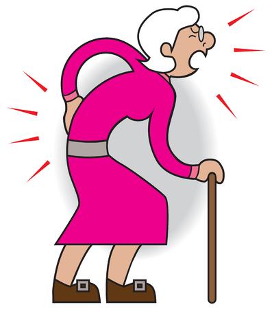 Oudere cartoonvrouw lijdt aan verschillende pijn en pijn