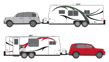 SUV is towing a camp trailer in two different color schemes. Illustration