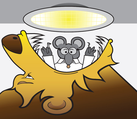 apprehension: Brave mouse dentist is getting ready to work on a lion Illustration