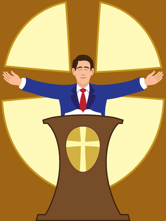 Flat vector preacher is spreading his arms at worship service
