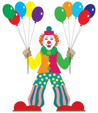 prankster: Flat vector cartoon clown is holding balloons Illustration