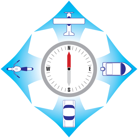 Vier verschillende transportwijzen die zich van het kompas verwijderen