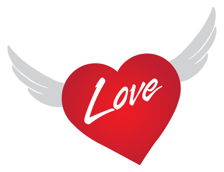 Heart with wings is flying to show love
