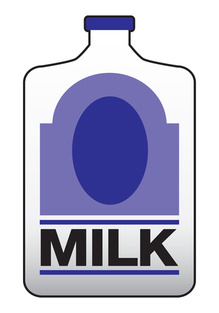 Plastic gallon of milk jug with purple label Çizim