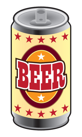 Generic can of beer waiting to be opened and drank Stock Illustratie