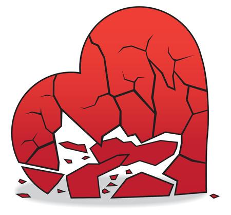 Le coeur brisé en morceaux est allongé sur le sol Vecteurs
