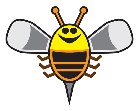 Happy cartoon bee is grinning and soaring into the sky 일러스트