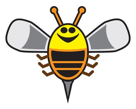 행복 한 만화 꿀벌 웃기만 하늘로 치 솟고있다 일러스트