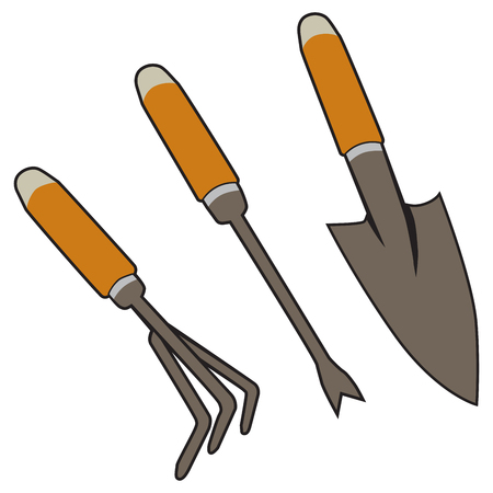 Set of three hand tools used to cultivate a garden. Illustration