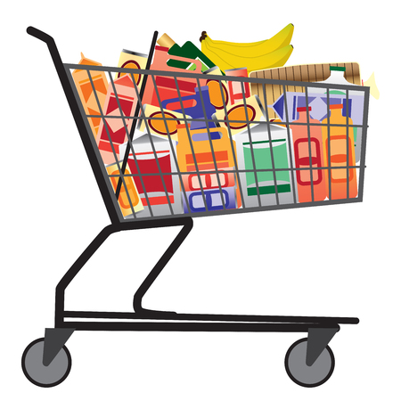 Grocery store shopping cart is full of various kinds of products
