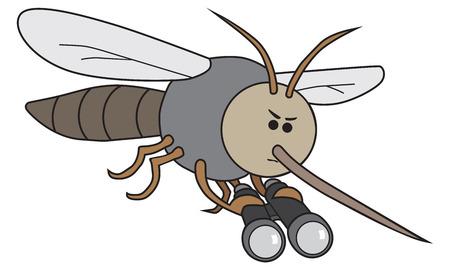 Intense cartoon mosquito is using binoculars to find new victims Zdjęcie Seryjne - 91695159