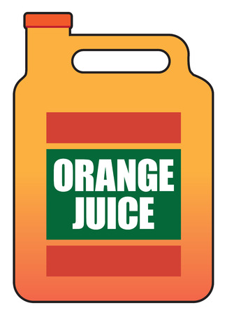 Gallon of fresh orange juice in plastic container vector illustration