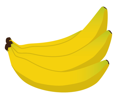 A bunch of ripe bananas is ready to be peeled and eaten Illustration