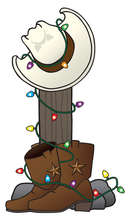 Cowboy hat and boots are decorated with Christmas lights