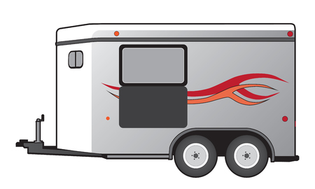 A horse trailer with red and orange graphics is ready to hook up and go