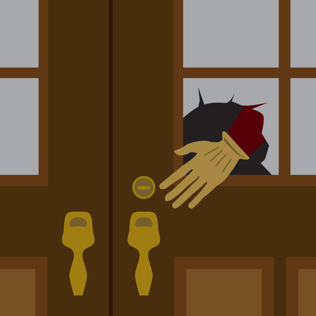 A thief's hand is reaching through a broken pane of glass on the front door of a house
