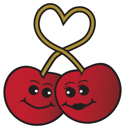 Two cartoon cherries in love are linked by their heart shaped stems
