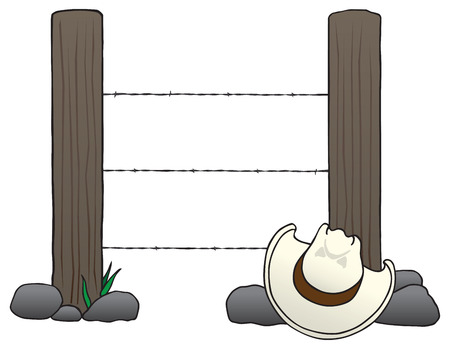 Two fence posts with barbed wire running between them and a cowboy hat resting on the rocks in front of them