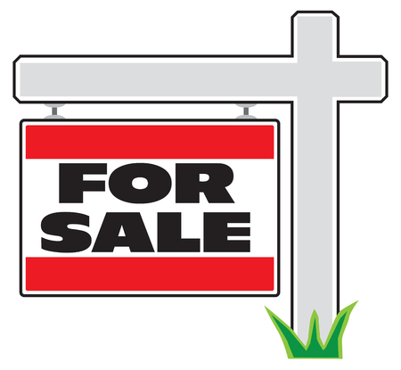 A yard sign is advertising property for sale Çizim