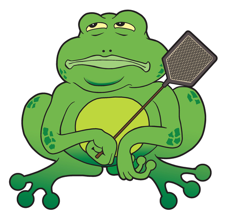 Cartoon frog with fly swatter patiently waiting for his prey