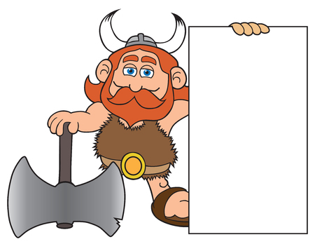 Happy cartoon viking with large axe is holding a blank sign
