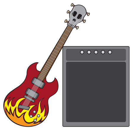 An electric guitar decorated with flames and a skull shaped head stock is leaning against an amplifier Иллюстрация