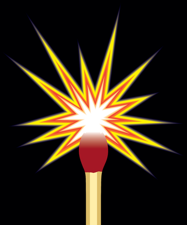 Someone has just struck a match to illuminate the darkness, Vector illustration. Illustration