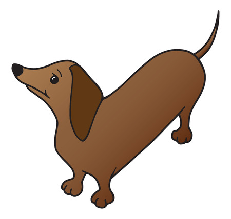 A cartoon weiner dog is looking upward expectantly