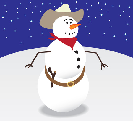 Nervous cowboy snowman is getting ready to shoot it out with his stick gun Ilustrace