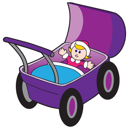 A childs doll is about to take a ride in a baby carriage.