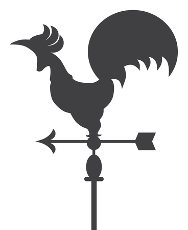 Metal rooster shaped weather vane is sitting atop a pole Illustration