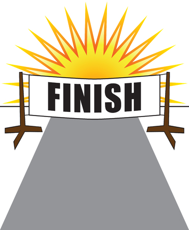 Two posts at races end holding a banner that says finish