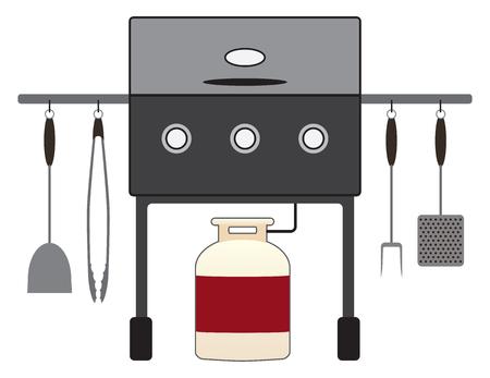 Barbecue grill with tools is attached to a propane tank and ready for business.
