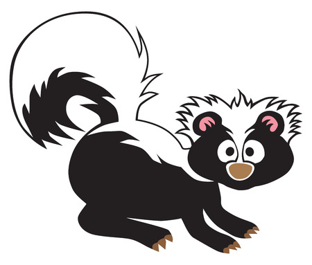 A cartoon baby skunk has been startled into alertness.