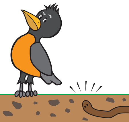 A cartoon robin is listening carefully to an earthworm digging underground