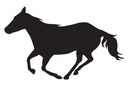A horse is running rapidly in silhouette Illustration