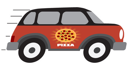 A cartoon pizza delivery vehicle is speeding towards it's destination 向量圖像
