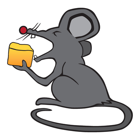 A gray cartoon mouse enjoying a meal of cheese.