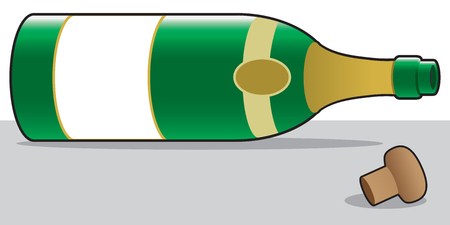 Empty champagne bottle is lying on its side on the floor next to its cork.
