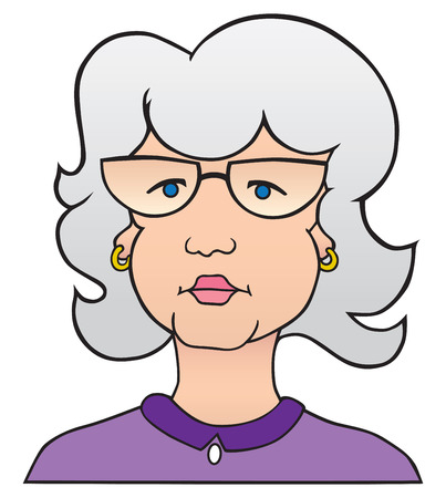Mature cartoon lady with gray hair is looking off into the distance. Illustration